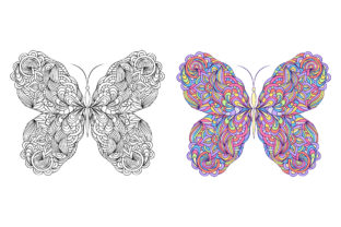 Butterflies - Coloring Pages Graphic Coloring Pages & Books Adults By fatamorganaoptic 2
