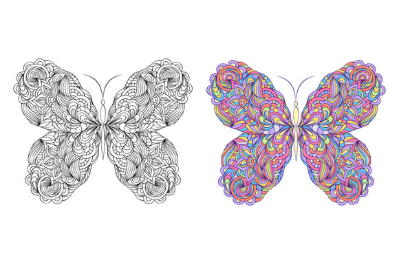 Butterflies - Coloring Pages Graphic Coloring Pages & Books Adults By fatamorganaoptic - Image 2