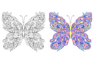 Butterflies - Coloring Pages Graphic Coloring Pages & Books Adults By fatamorganaoptic 3