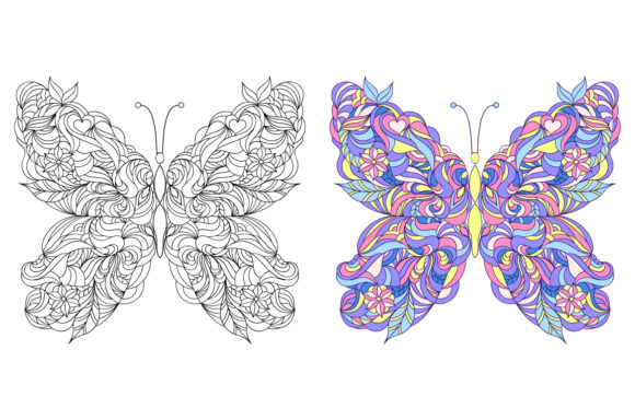Butterflies - Coloring Pages Graphic Coloring Pages & Books Adults By fatamorganaoptic - Image 3