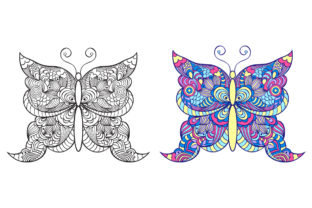 Butterflies - Coloring Pages Graphic Coloring Pages & Books Adults By fatamorganaoptic 5