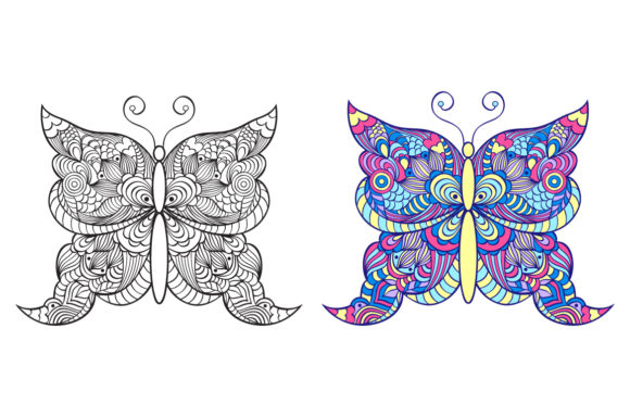Butterflies - Coloring Pages Graphic Coloring Pages & Books Adults By fatamorganaoptic - Image 5