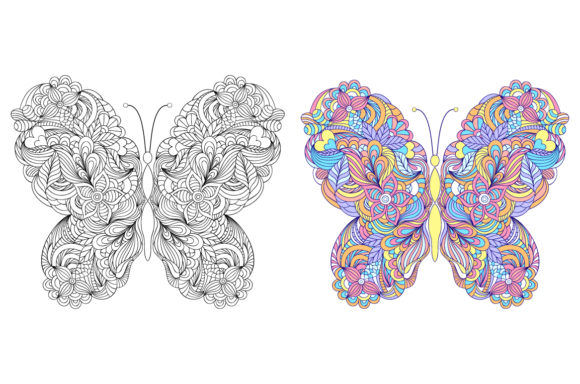 Butterflies - Coloring Pages Graphic Coloring Pages & Books Adults By fatamorganaoptic - Image 6