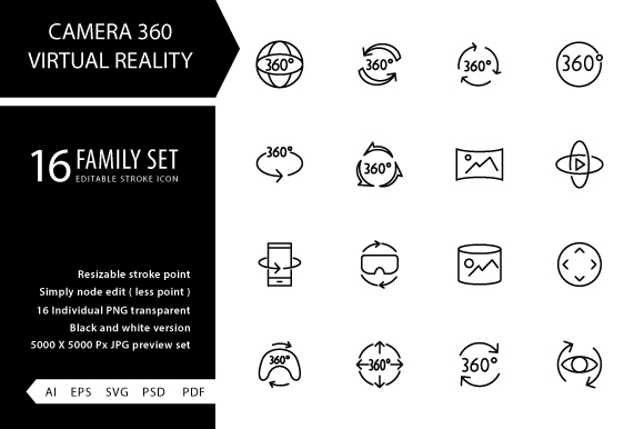 Download Free Camera 360 Virtual Reality Line Icon Graphic By Grapict Studio for Cricut Explore, Silhouette and other cutting machines.