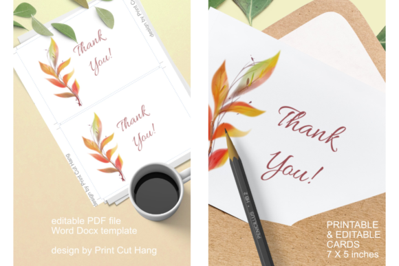 Download Free Cards With Orange Watercolor Fall Leaves Graphic By Print Cut for Cricut Explore, Silhouette and other cutting machines.