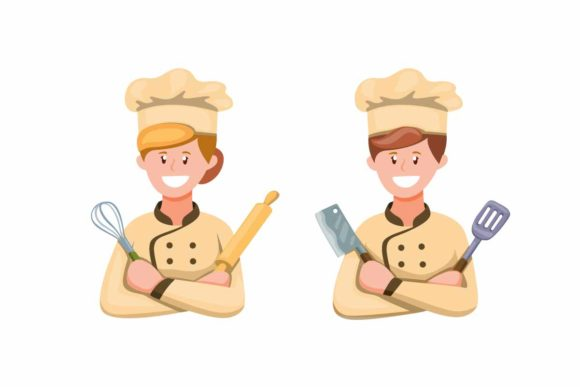 Download Free Chef Man And Woman In Uniform Icon Set Graphic By Aryo Hadi for Cricut Explore, Silhouette and other cutting machines.