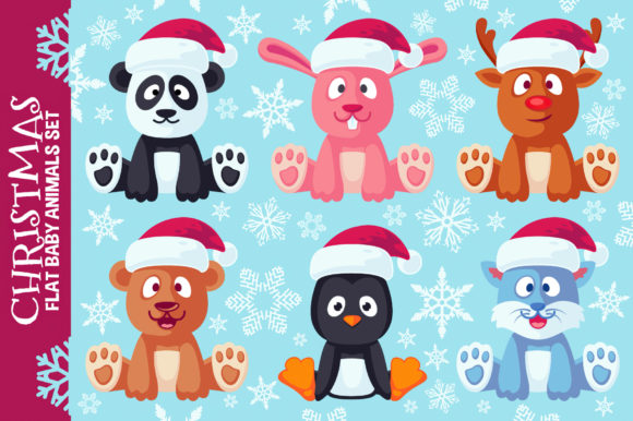Christmas Cute Flat Animals Set Graphic Illustrations By pixaroma