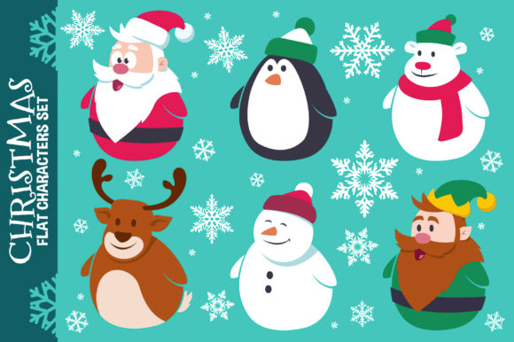Download Free Christmas Cute Flat Characters Set Graphic By Pixaroma for Cricut Explore, Silhouette and other cutting machines.
