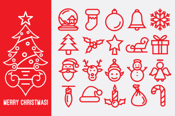 Download Free Christmas Line Icons Graphic By Pixaroma Creative Fabrica for Cricut Explore, Silhouette and other cutting machines.