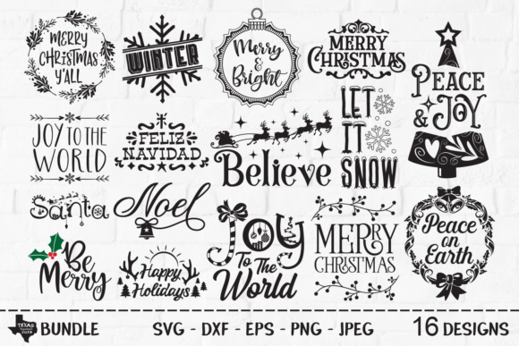 Download Free Christmas Super Bundle Graphic By Texassoutherncuts Creative for Cricut Explore, Silhouette and other cutting machines.