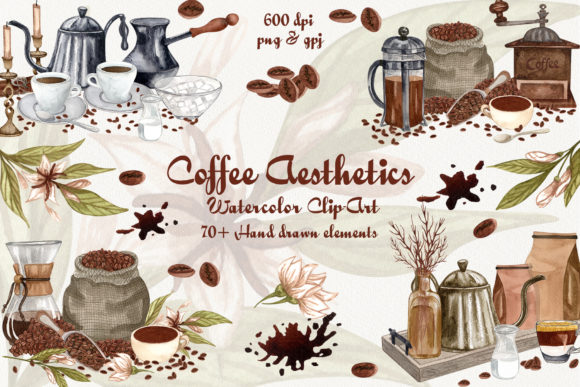Download Free Coffee Aesthetics Watercolor Clip Art Graphic By Barvart for Cricut Explore, Silhouette and other cutting machines.