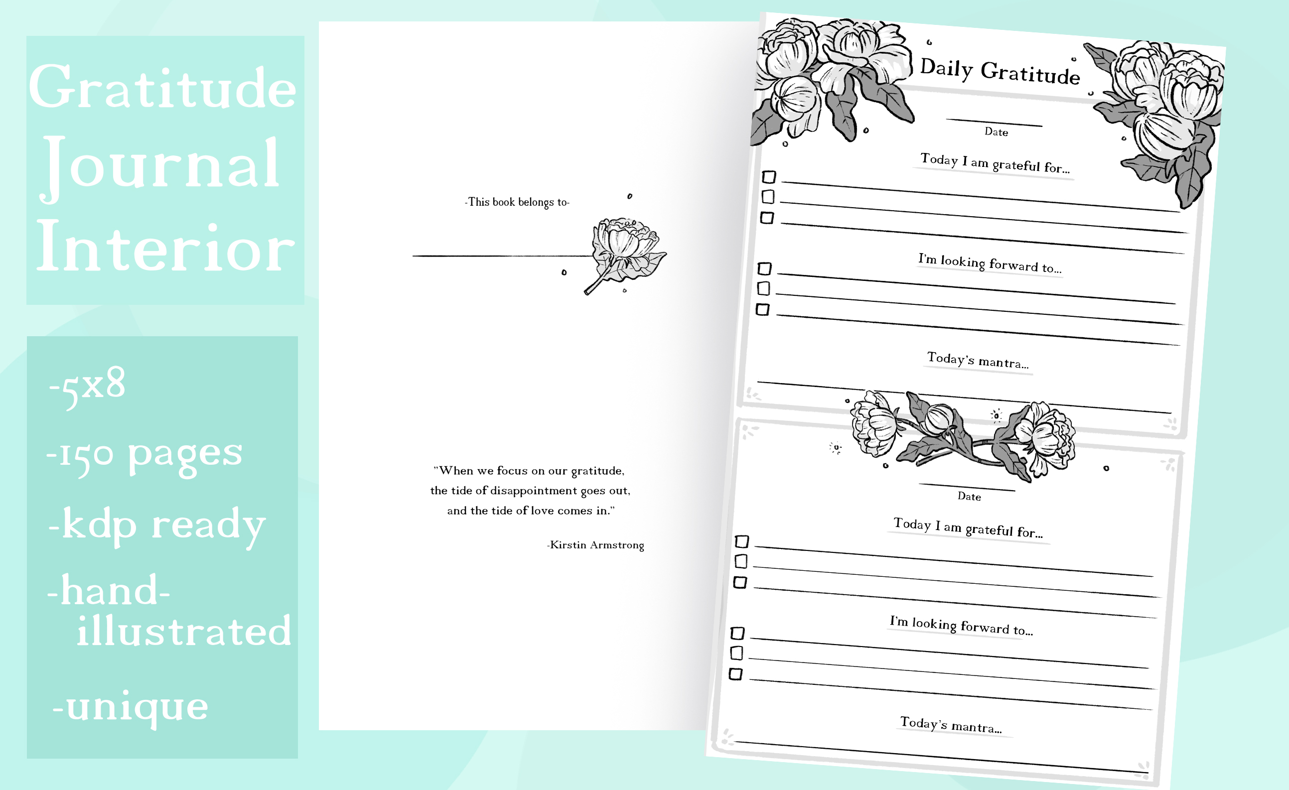 Download Free Daily Gratitude Journal Interior Graphic By Madelinehaleart for Cricut Explore, Silhouette and other cutting machines.