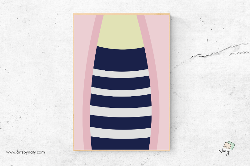 Download Free Fashion Pink And Navy Blue Stripes Print Graphic By Artsbynaty for Cricut Explore, Silhouette and other cutting machines.