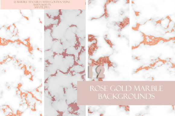 Feminine Rose Gold Glitter Marble Set Graphic Textures By liquid amethyst art