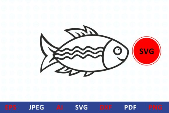 Print on Demand: Fish Icon for Craft Graphic Illustrations By millerzoa