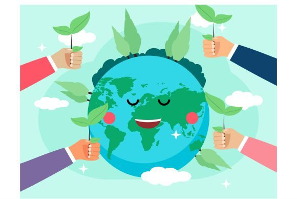 Download Free Flat Design World Environment Earth Graphic By Redvy Creative for Cricut Explore, Silhouette and other cutting machines.