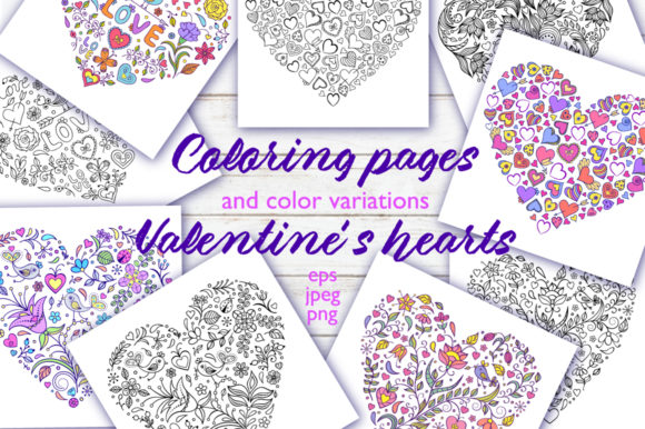Floral Hearts - Coloring Pages Graphic Coloring Pages & Books Adults By fatamorganaoptic - Image 1