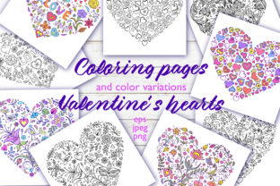 Floral Hearts - Coloring Pages Graphic Coloring Pages & Books Adults By fatamorganaoptic