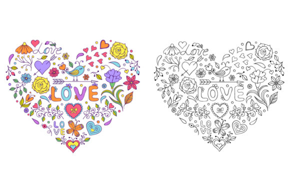 Floral Hearts - Coloring Pages Graphic Coloring Pages & Books Adults By fatamorganaoptic - Image 2