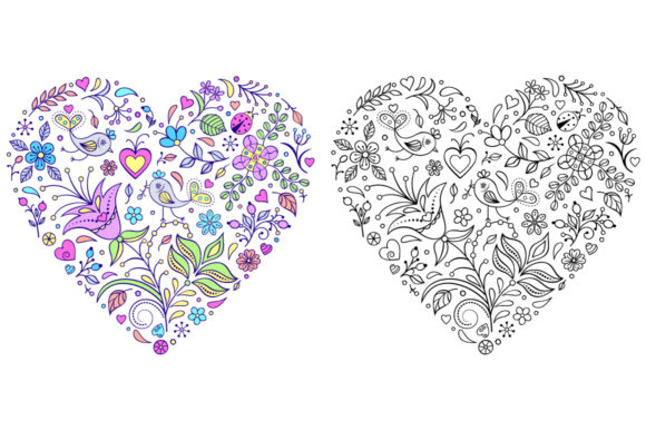 Floral Hearts - Coloring Pages Graphic Coloring Pages & Books Adults By fatamorganaoptic - Image 5