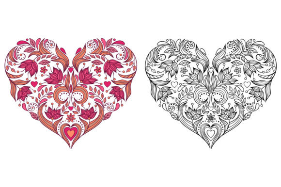 Floral Hearts - Coloring Pages Graphic Coloring Pages & Books Adults By fatamorganaoptic - Image 7
