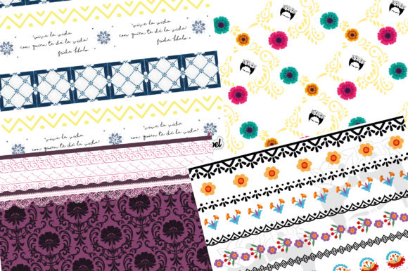 Frida Digital Paper Graphic Backgrounds By scrapel.ar