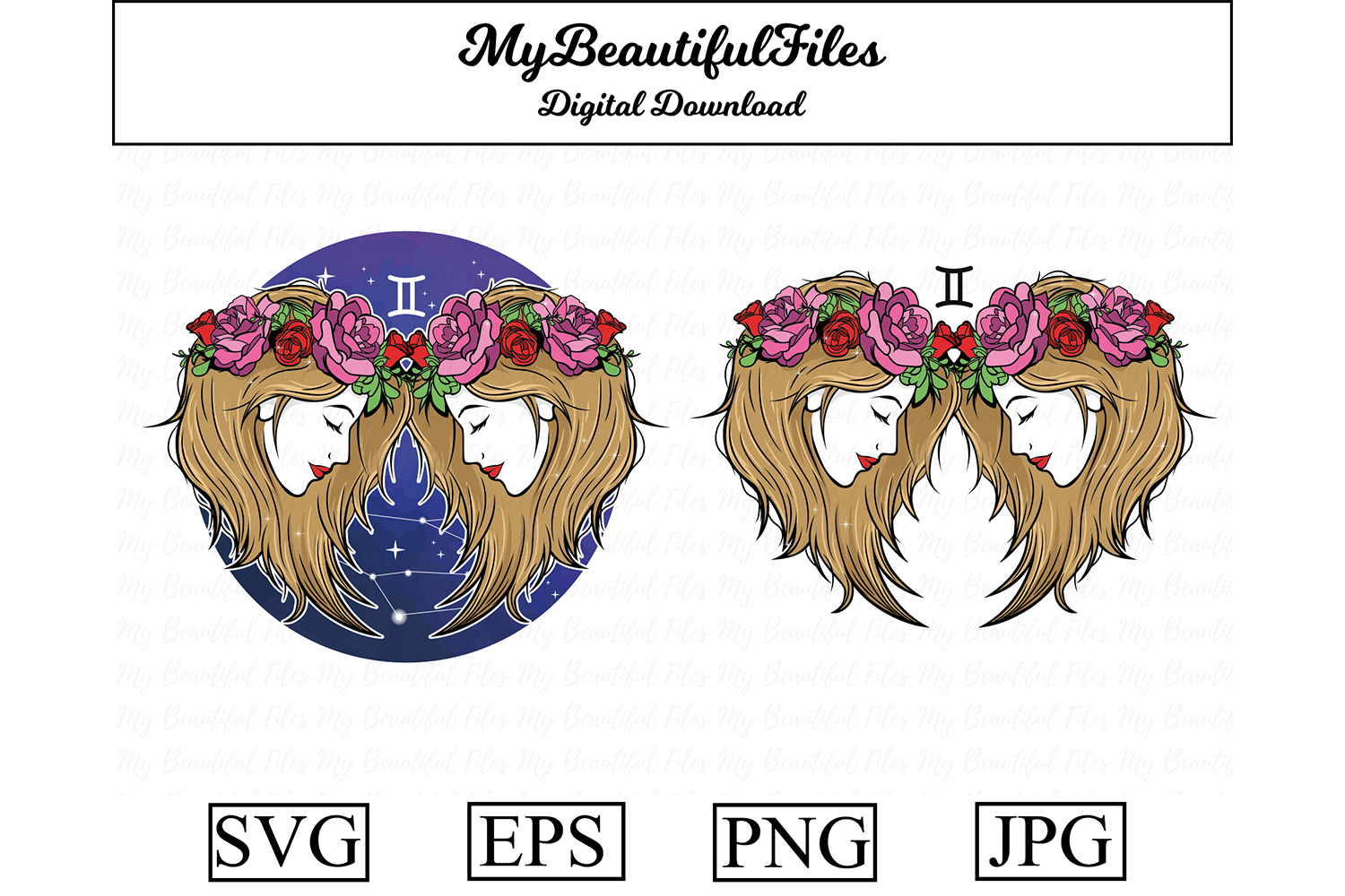 Download Free Gemini Zodiac Signs Graphic By Mybeautifulfiles Creative Fabrica for Cricut Explore, Silhouette and other cutting machines.