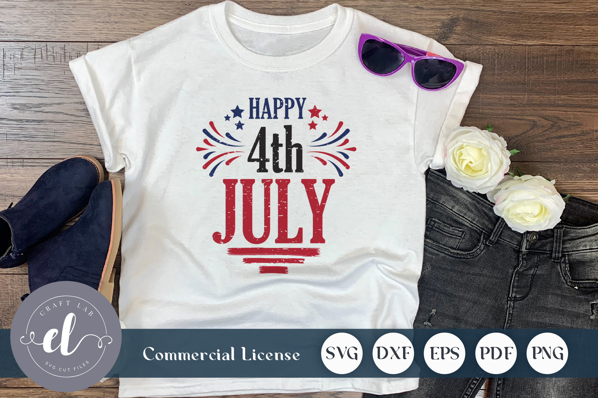 Download Free Happy 4th July Graphic By Craftlabsvg Creative Fabrica SVG Cut Files