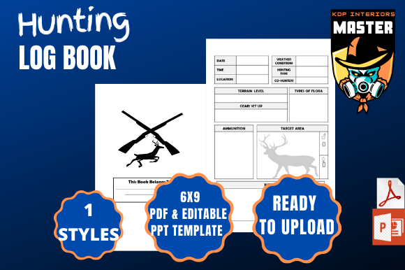 Download Free Hunting Log Book Graphic By Kdp Interiors Master Creative Fabrica for Cricut Explore, Silhouette and other cutting machines.