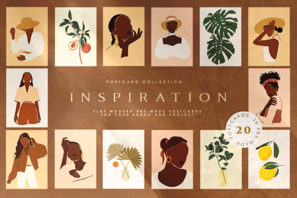 Inspiration Postcard Collection Graphic Illustrations By NassyArt
