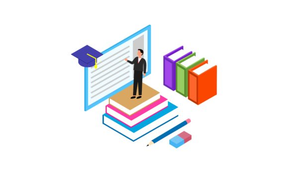 Isometric Education Illustration, School Graphic Logos By 2qnah