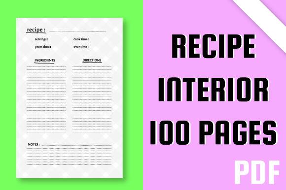 Download Free Kdp Recipe Blank Recipe Interior Design Graphic By Mah Moud for Cricut Explore, Silhouette and other cutting machines.