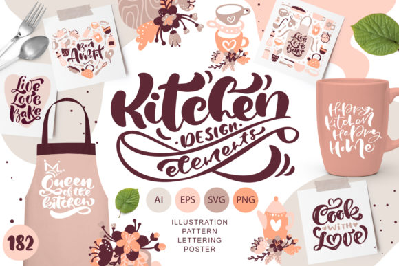 Download Free Kitchen Design Elements Graphic By Happy Letters Creative Fabrica for Cricut Explore, Silhouette and other cutting machines.