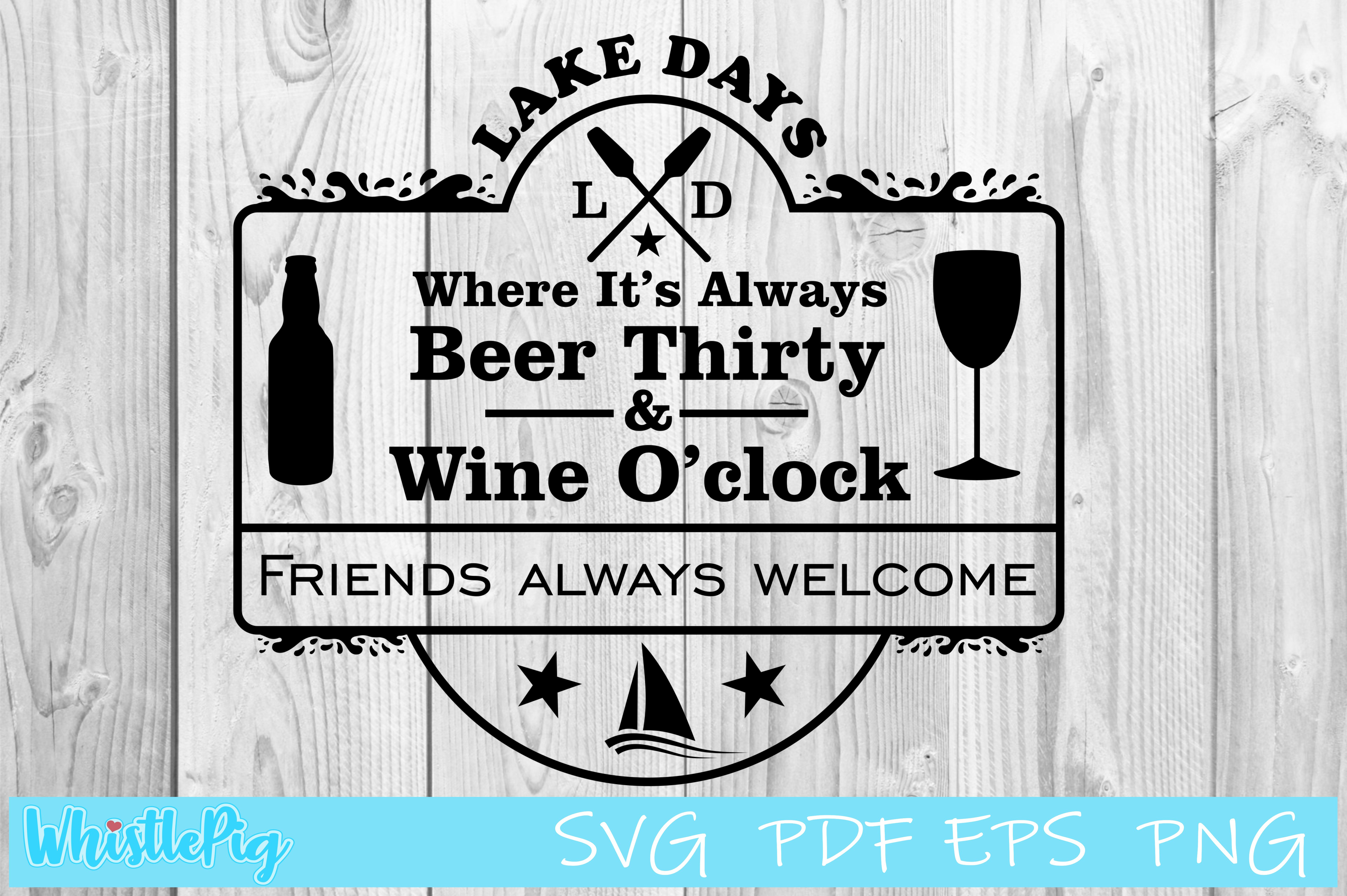 Download Free Lake Days Camping Boat Graphic By Whistlepig Designs Creative for Cricut Explore, Silhouette and other cutting machines.