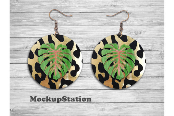 Download Free Leopard Tropical Round Earring Design Graphic By Mockup Station for Cricut Explore, Silhouette and other cutting machines.