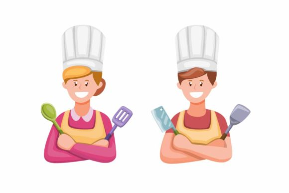 Print on Demand: Man and Women Cooking in Kitchen Symbol Graphic Illustrations By aryo.hadi