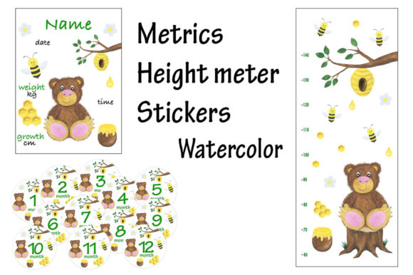 Download Free Metric Height Meter Stickers Watercolor Graphic By Shishkovaiv for Cricut Explore, Silhouette and other cutting machines.