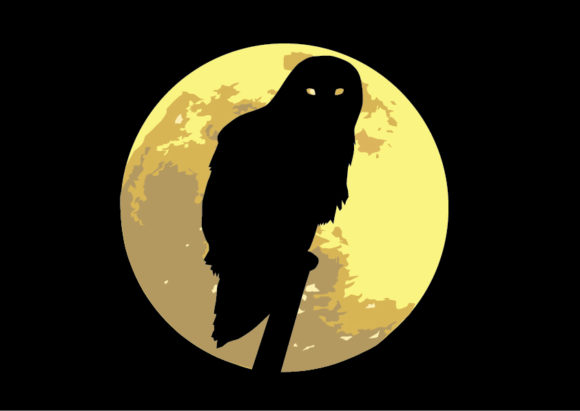 Download Free Owl Moon Vector Graphic By Evand Creative Fabrica for Cricut Explore, Silhouette and other cutting machines.