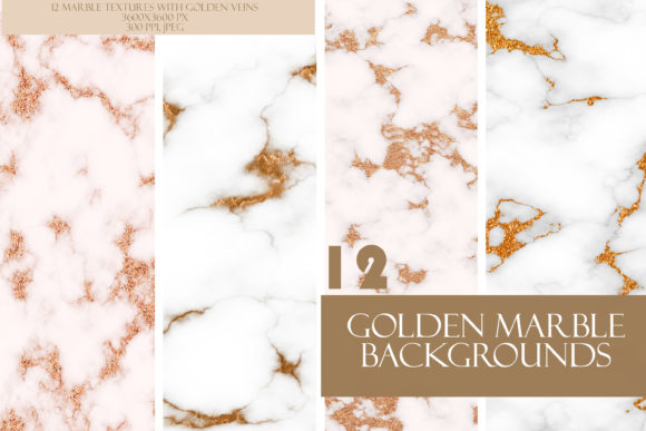 Pretty Marble White & Gold Texture Set Graphic Textures By liquid amethyst art