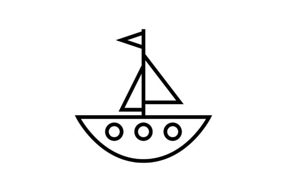 Download Free Sailboat Black And White Line Icon Graphic By Muhammadfaisal40 for Cricut Explore, Silhouette and other cutting machines.