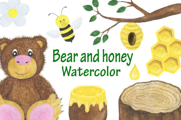 Set Bear and Honey Watercolor Children's Graphic Illustrations By shishkovaiv