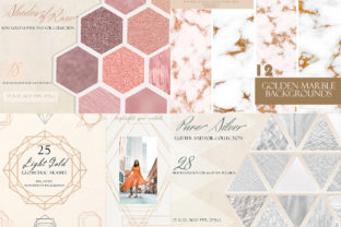 Download Free Shiny Bundle Glitter Gold Marble Frames Bundle Creative Fabrica for Cricut Explore, Silhouette and other cutting machines.