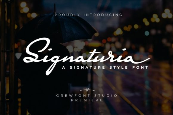 Print on Demand: Signaturia Script & Handwritten Font By grewfont.studio