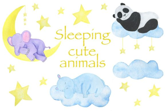Sleeping Cute Animals Watercolor Graphic Illustrations By shishkovaiv