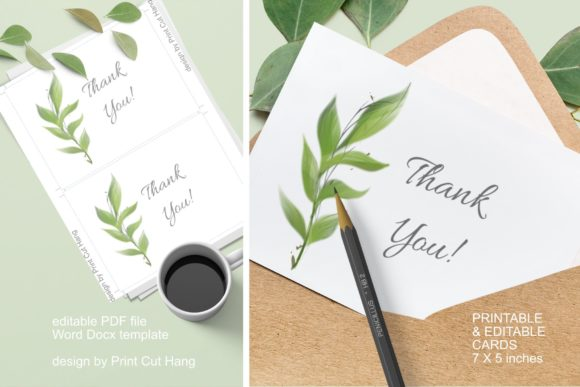 Thank You Cards Green Watercolor Leaves Graphic By Print Cut