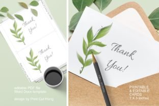 Download Free Thank You Cards Green Watercolor Leaves Graphic By Print Cut for Cricut Explore, Silhouette and other cutting machines.