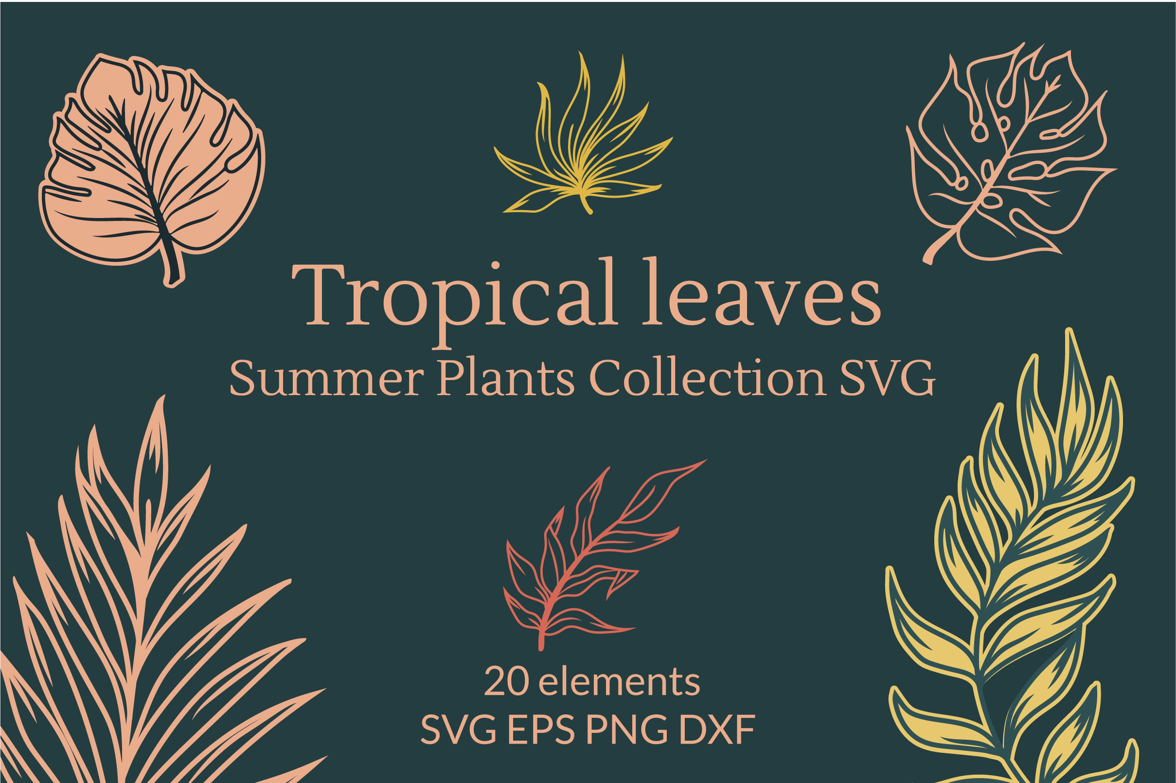 Download Free Tropical Leaves Plants Collection Graphic By Tatyana Zenartist for Cricut Explore, Silhouette and other cutting machines.