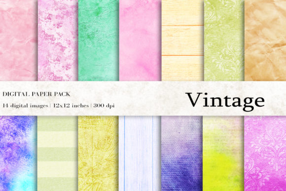 Download Free Vintage Digital Papers Graphic By Bonadesigns Creative Fabrica for Cricut Explore, Silhouette and other cutting machines.