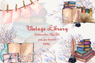 Vintage Library -Watercolor Clip-Art Set Graphic Illustrations By BarvArt