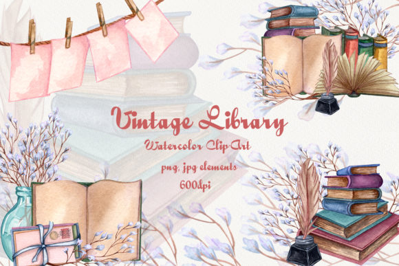 Vintage Library. Watercolor Clip-Art Set Graphic Illustrations By BarvArt